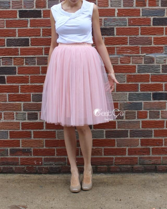 2093744398 Corinne Gray Pink Tulle Skirt - Below Knee Midi #2504608 - Weddbook