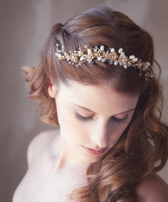 Golden Flower Hair Vine Gold Bridal Hair Vine Bridal Hair Accessories Gold Bridal Wreath ...