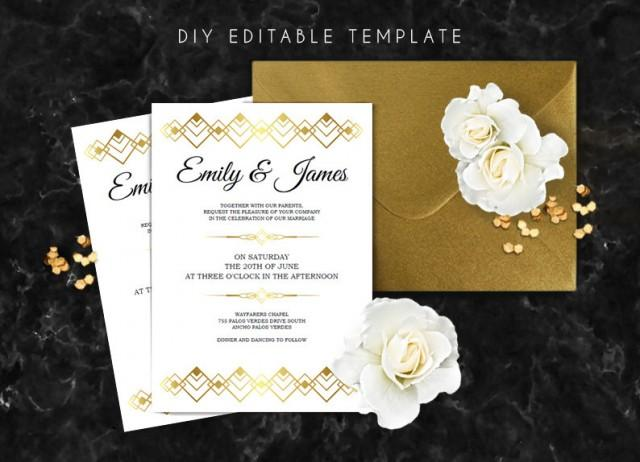 Great Wedding Invites: Editable Wedding Invitation Template. Great Gatsby Wedding