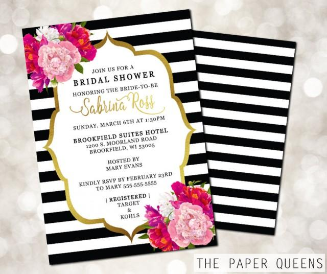Great Bridal Shower, Wedding Invitation, Printable Invitation, Weddings, Bridal  Invite, Wedding Invite, Invitations, Kate Spade, Stripes Flowers #2505036    ...