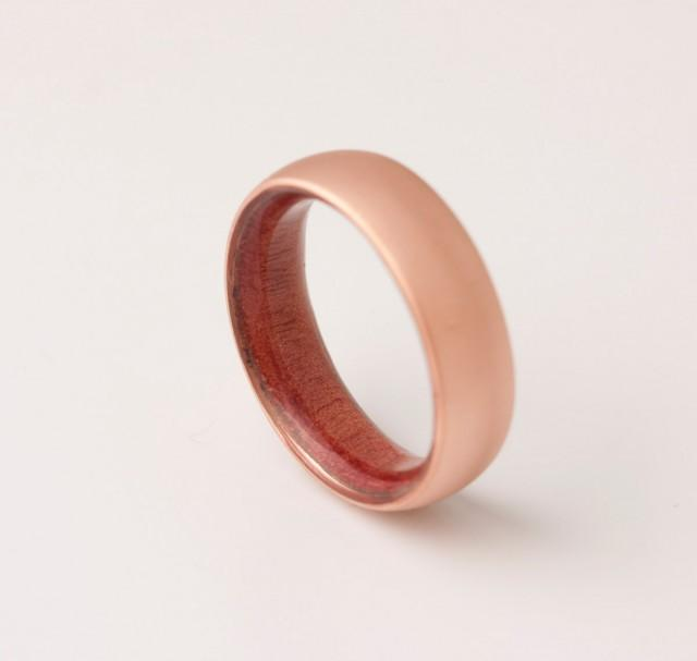Copper Wedding Band Copper Wood Ring Red Cedar Ring