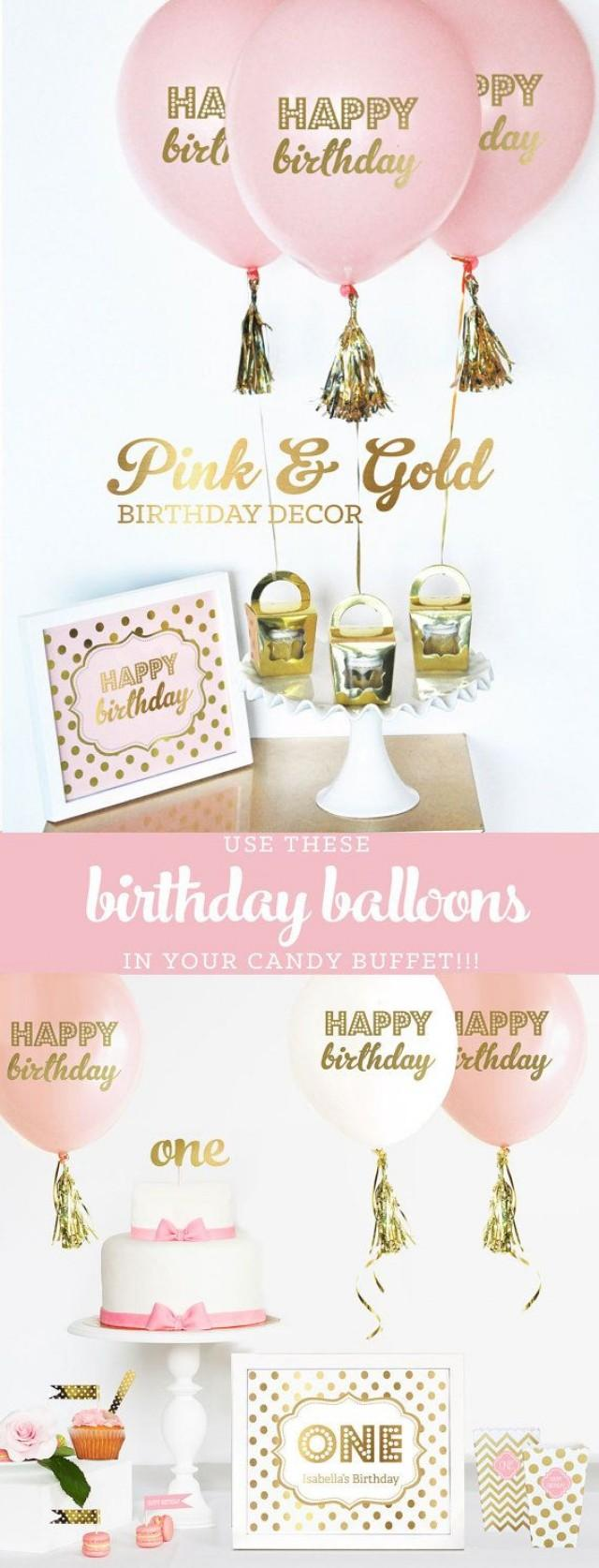 Pink And Gold Birthday Decorations First Party Decor 1st Girl Ideas Balloons Kit EB3110BIR