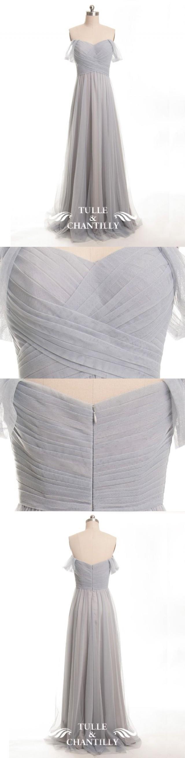 Elegant Long Tulle Off Shoulder Light Grey Bridesmaid Dress [TBQP328 ...