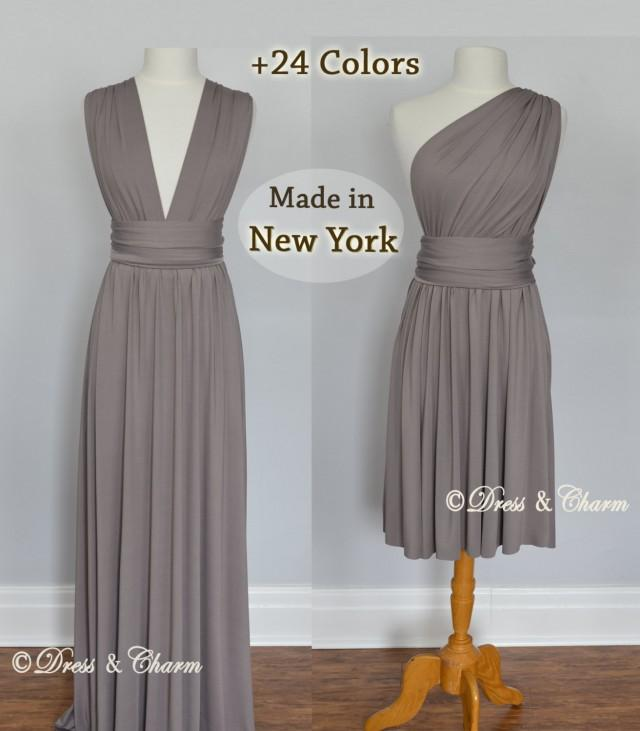 Clearance Sale Taupe bridesmaid dress short cocktail dress knee-lenght-infinity dress short taupe dress infinity dress for proms