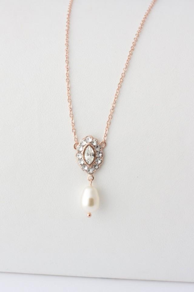 Simple Wedding Jewelry Rose Gold Pendant Bridal Necklace