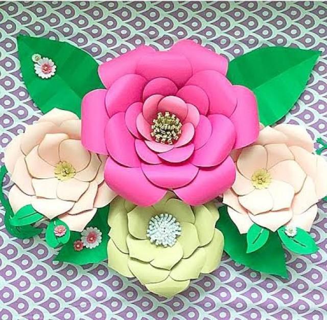 DIY Large Paper Flower Templates, Paper Flower Kit, Paper Flower SVG ...