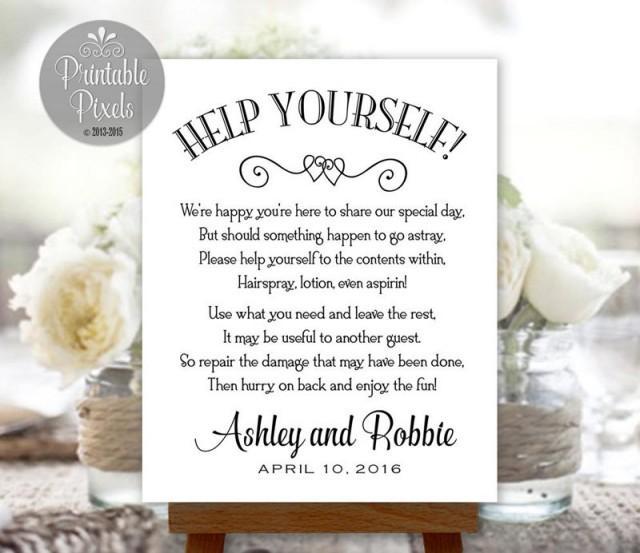 Wedding Bathroom Basket Ideas: Bathroom Basket Sign Printable Wedding Restroom Toiletries Basket Digital Personalized With