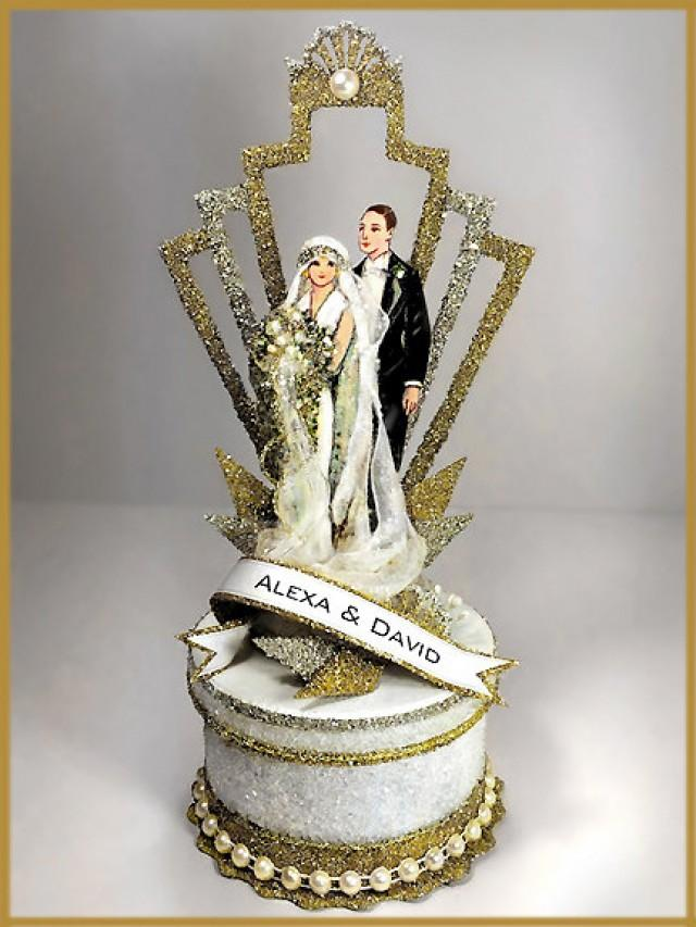 1920 S Art Deco Great Gatsby Wedding Cake Topper Keepsake Box