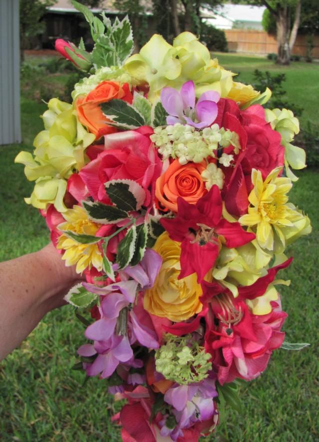Tropical Bridal Bouquet A Cascading Bridal Bouquet For A Bride Who ...