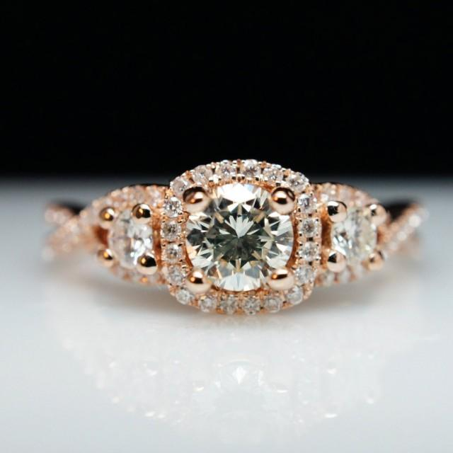 Three stone diamond halo rose gold engagement ring for Three stone wedding ring set