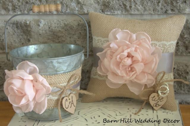 Flower Girl Basket Gray : Flower girl bucket basket ring bearer pillow set pink gray