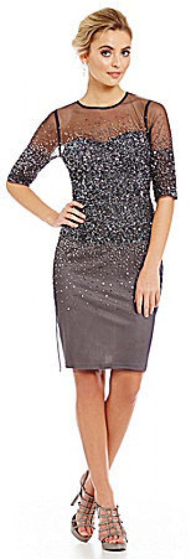Adrianna Papell 3/4 Sleeve Beaded Cocktail Dress #2507290 - Weddbook