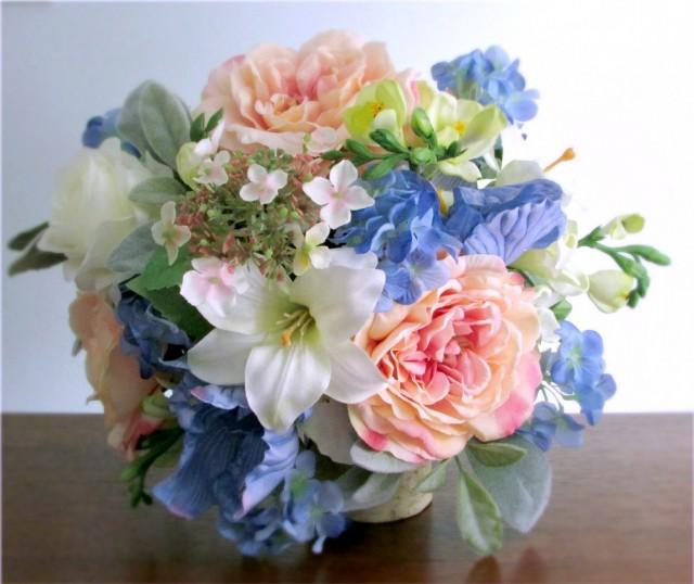 Blue Hydrangea Wedding Flowers: Silk Bridal Bouquet, Blush Pink, Light Blue, Green, And