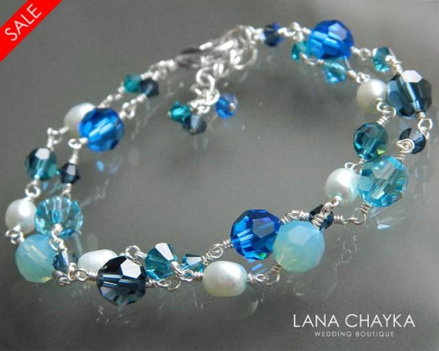 On Sale Blue Teal Light Green Turquoise Crystal Silver
