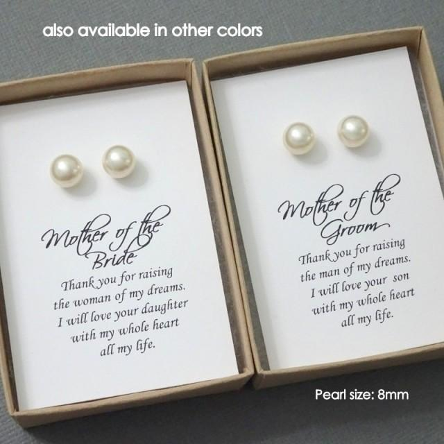 Mother Of The Groom Or Bride Gift Set Swarovski Ivory Stud Pearl Earrings 2507406 Weddbook