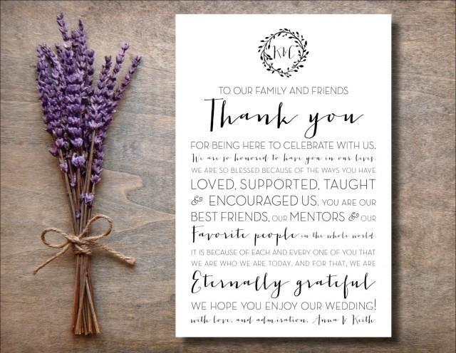 4x6 To Our Family And Friends Thank You Wedding Sign