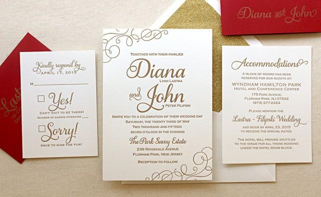 White And Red Wedding Invitations: Classic Letterpress Wedding