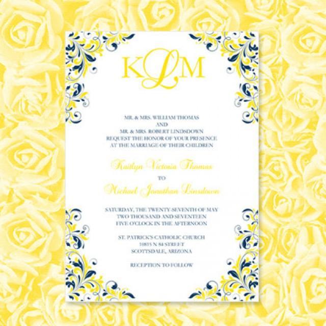 Navy Blue Yellow Wedding Invitations Kaitlyn Printable Template