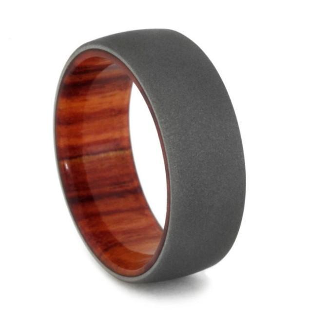 Tulip Wood Men S Wedding Ring W Sandblasted Titanium