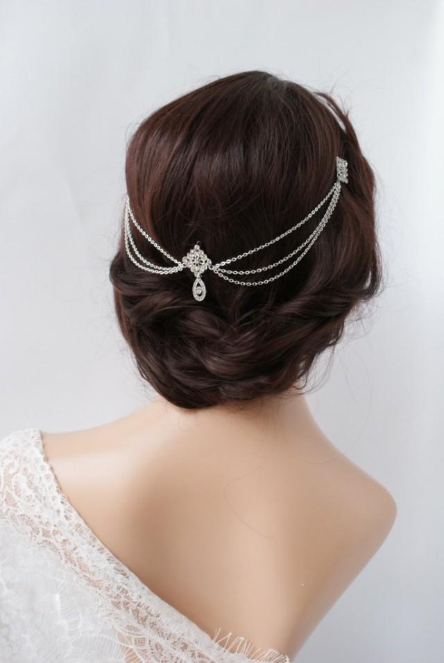 1920s Wedding Headpiece With Swags Vintage Bridal Headpiece