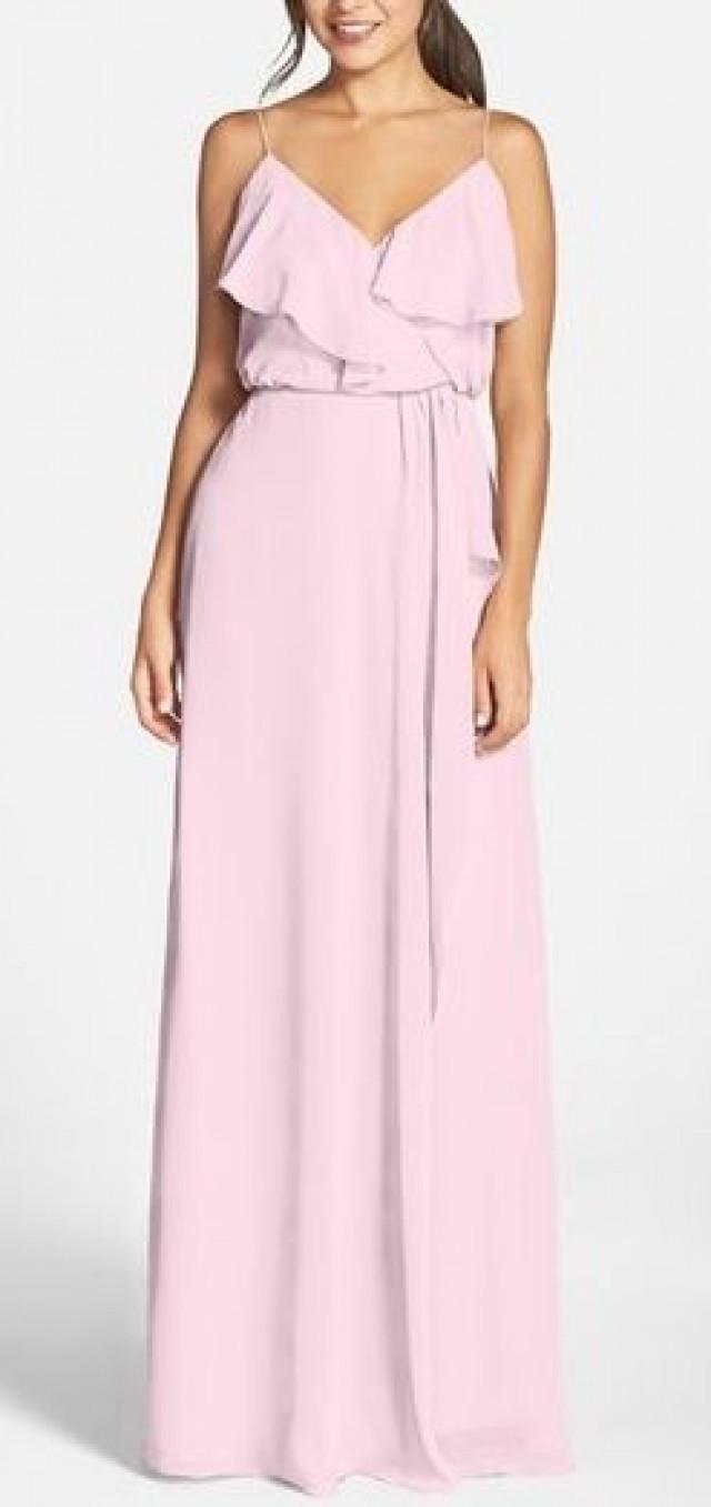 Nouvelle Amsale Drew Ruffle Front Chiffon Gown 2508376