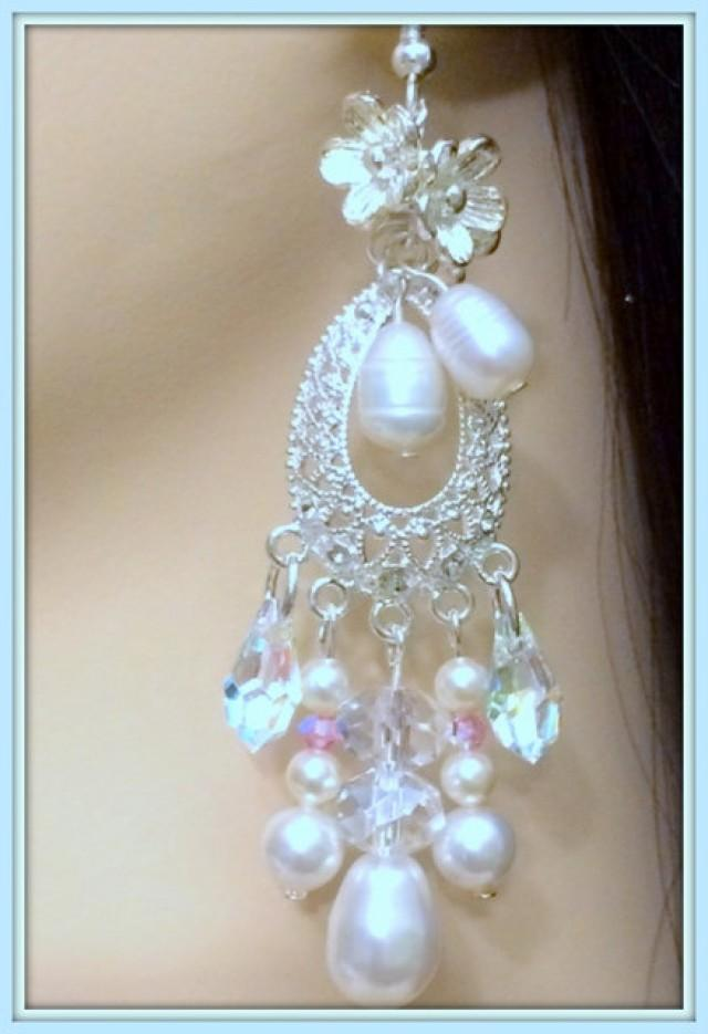 Bridal Chandelier Earrings Vintage Inspired Sterling
