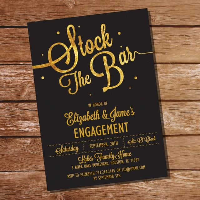 gold glitter stock the bar engagement party invitation