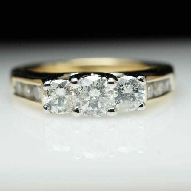 K Yellow Gold Channel Set Diamond Ring