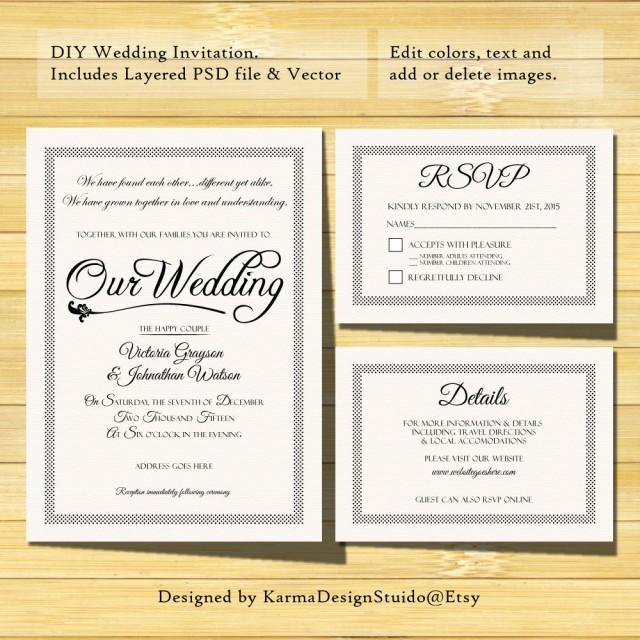 wedding invitation template - instant download - printable invitation - psd template