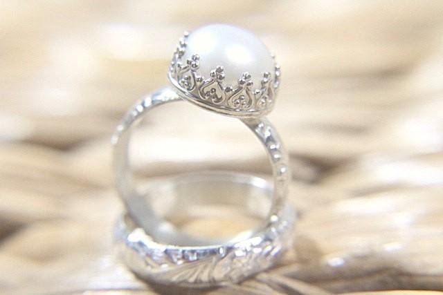 Pearl Wedding Ring Set Eco Friendly Floral Wedding Band