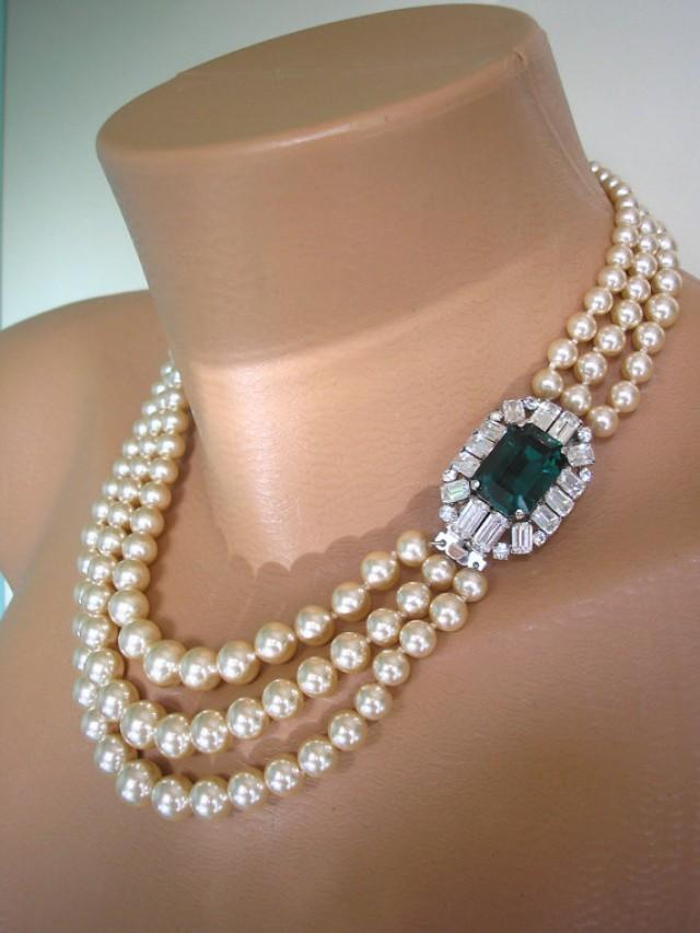 Emerald And Pearl Necklace Vintage Pearl Choker Pearl