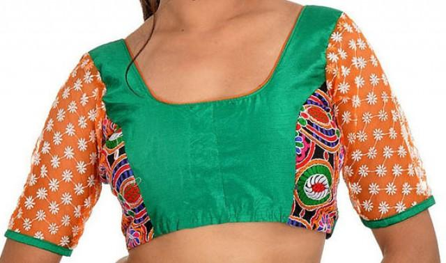 Green Blouse With Net Sleeves Designer Saree Blouse 2509537 Weddbook