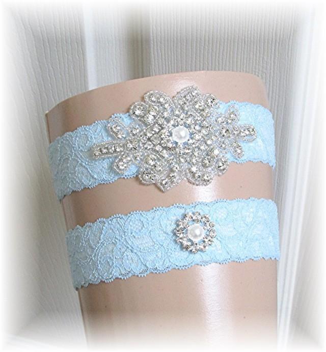 Blue Bridal Garter Set, Something Blue Wedding Garter Set