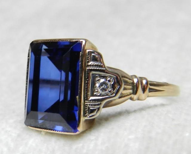 Sapphire Ring Vintage Art Deco Sapphire Ring 2 75 Carat