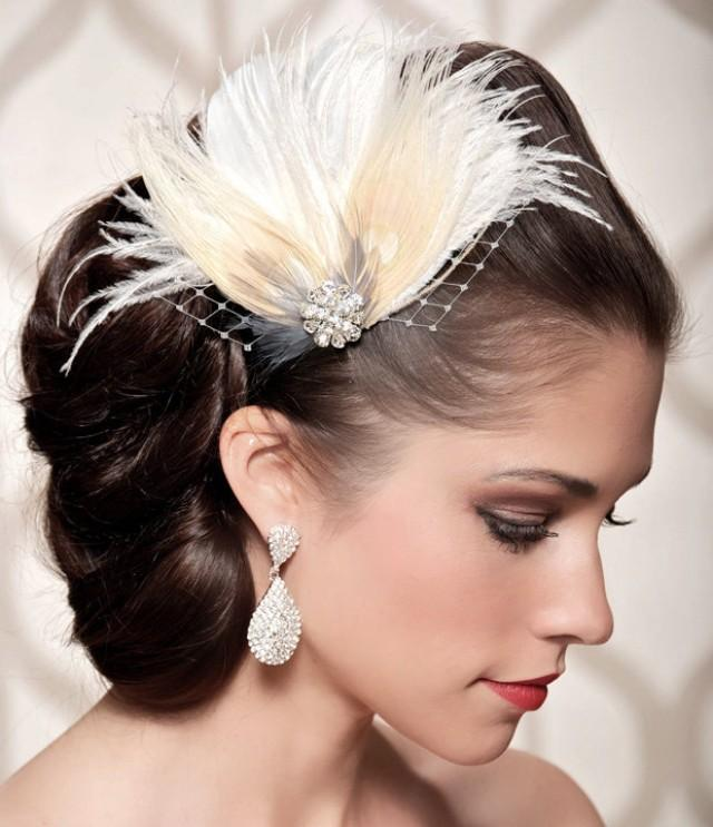 Ivory Bridal Head Piece Champagne Peacock Feather