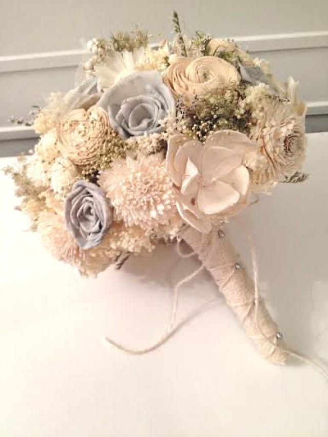 Ivory And Gray Wedding Bouquet -sola Flowers - Customize Colors ...