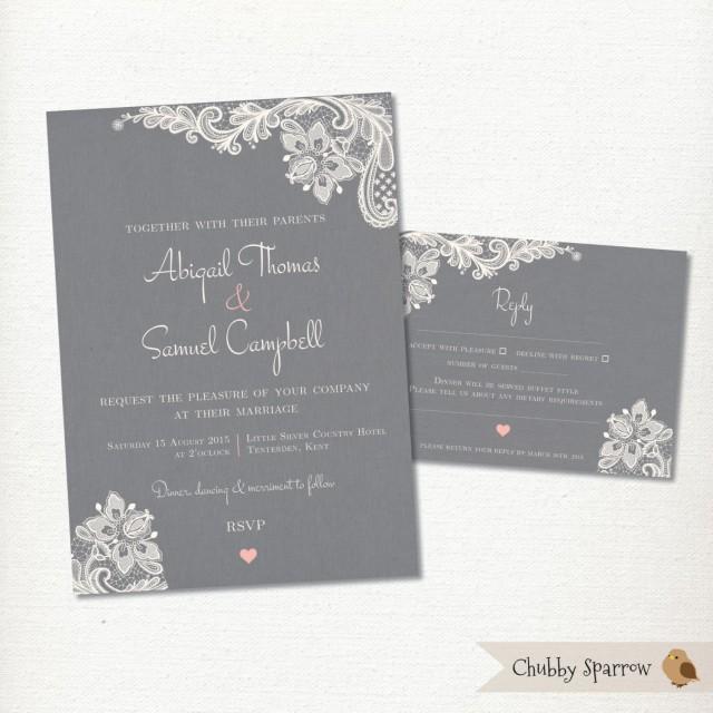Grey wedding invitation rsvp card set kit lace linen for Digital wedding invitations with rsvp
