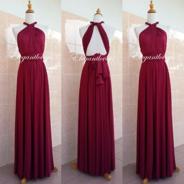 Convertible dress maroon wedding dress bridesmaid dress for Elegant wedding party dresses