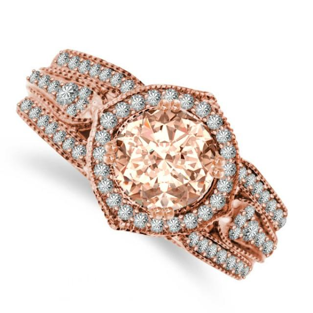 Vintage Inspired Morganite Diamond Enement Ring
