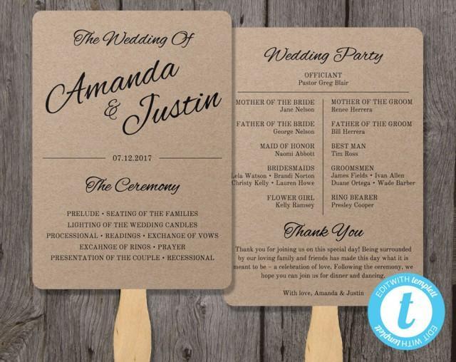Rustic wedding program fan template fan wedding program template instant download edit in for Fan wedding program template