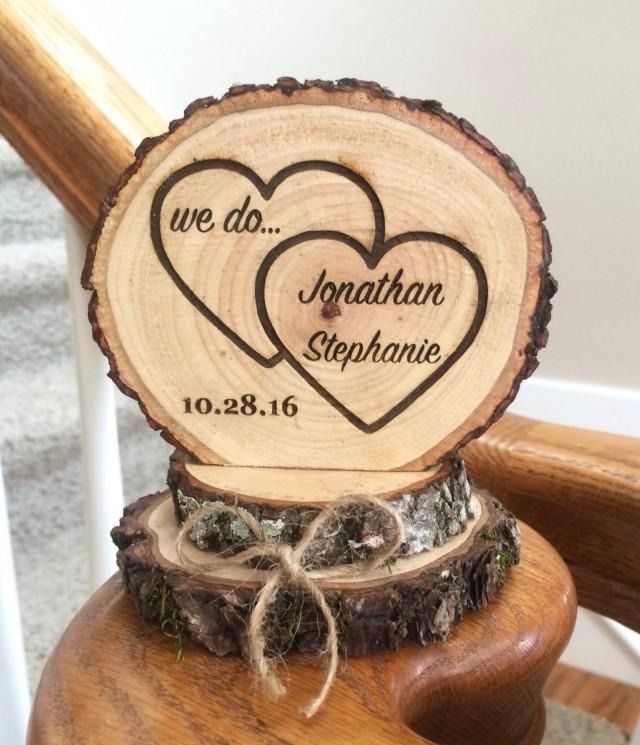 Rustic Wedding Cake Topper, Wood Cake Topper, Heart Cake Topper ...
