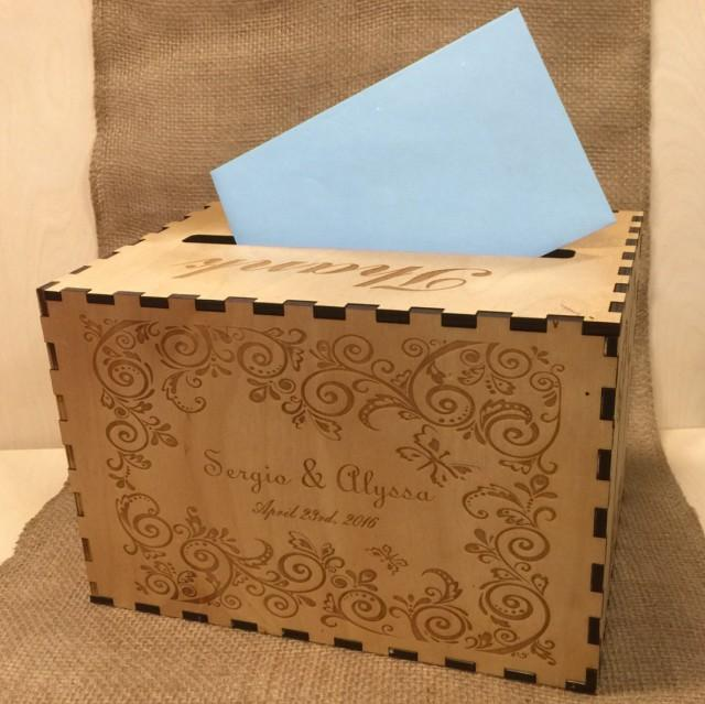 Wedding Card Box Custom Card Box Rustic Wood Card Holder Gift Box Keepsake Memory Box Card