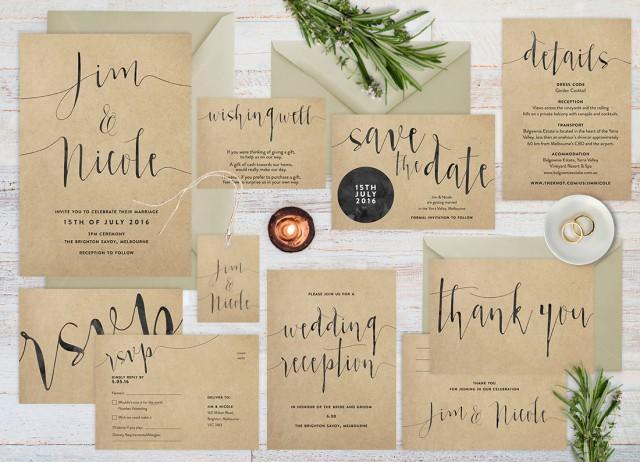 Diy Kraft Paper Wedding Invitations: Wedding Invitation Set, Rustic Wedding Invitation Set