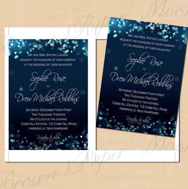 Midnight Blue Night Sky Wedding Invitations 5x7 Text Editable