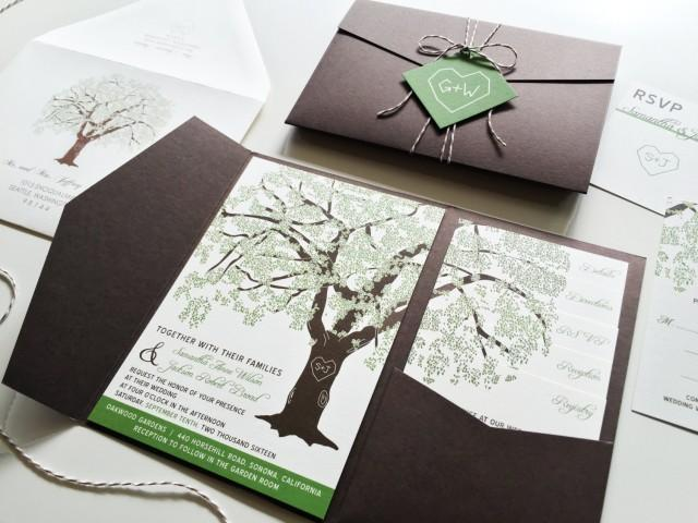 Sample Invitations For Wedding: Sample Oak Tree Wedding Invitation Rustic Wedding