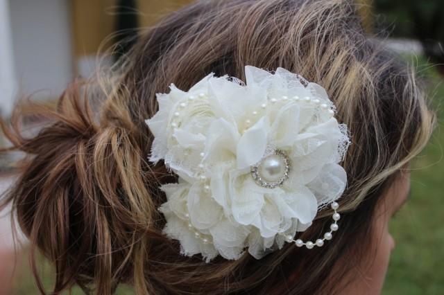 d027de1aa Ivory Bridal Fascinator Cream Flower Girl Hair Clip Ivory Hair Bow ...