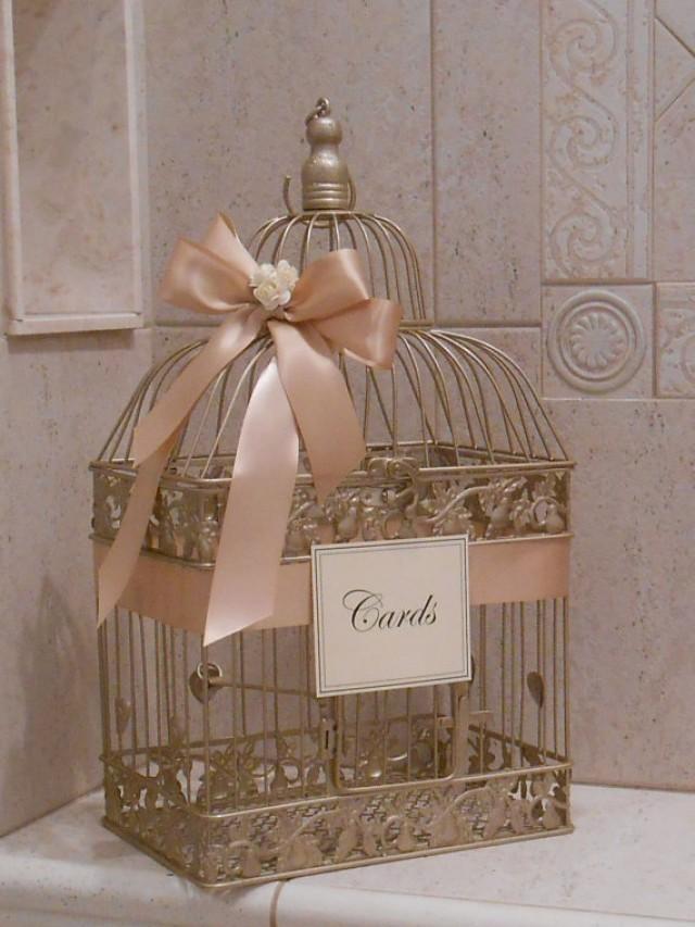 large champagne gold and blush wedding card box  wedding