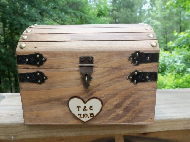 Cute Rustic Wedding Box With Personalized Heart Slot And Lock Key Set Included In The Price Guest Book Alt Honeymoon Fund 2512058 Weddbook