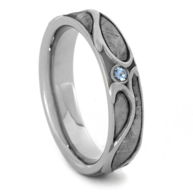 Aquamarine Engagement Ring White Gold Wedding Band With Meteorite For Women 2512373