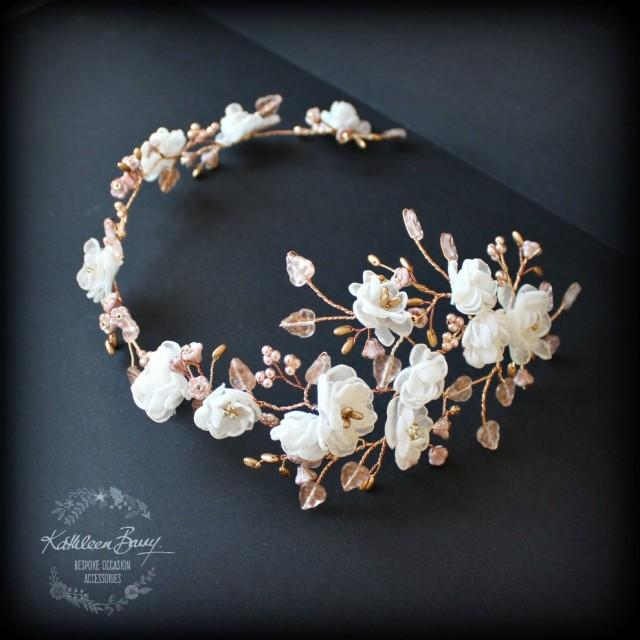 R2300 Rose Gold Flower Wedding Bridal Hair Accessory